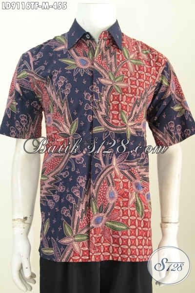 Sedia Baju Batik Pria Bagus, Hem Lengan Pendek Pake Furing Motif Trendy Proses Tulis, Tampil Keren Dan Macho [LD9116TF-M]