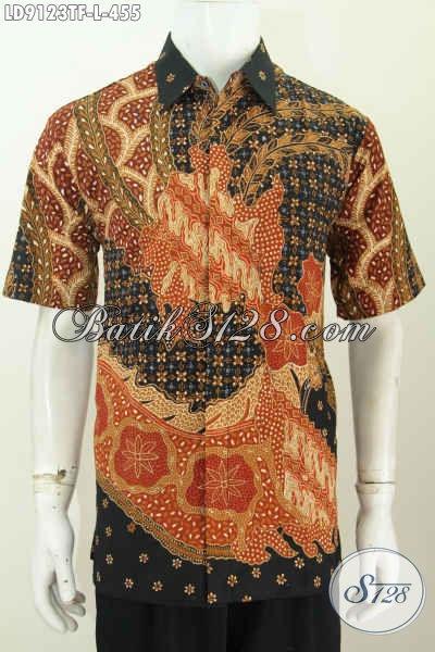 Jual Kemeja Batik Full Furing Pria Lengan Pendek, Pakaian Batik Modis Motif Paling Baru, Bikin Pria Tampan Mempesona Proses Tulis [LD9123TF-L]