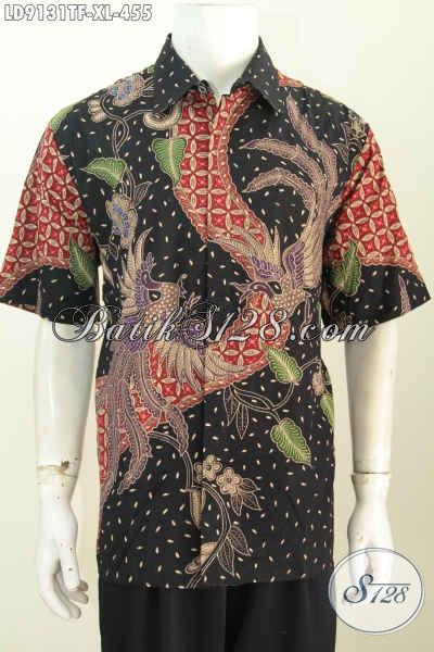 Jual Online Kemeja Kerja Bahan Batik Tulis Premium, Busana Batik Full Furing Model Lengan Pendek Harga 455 Ribu [LD9131TF-XL]