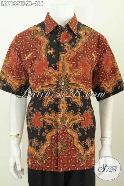 Olshop Batik Paling Up To Date, Jual Kemeja Lengan Pendek Mewah Full Furing Motif Bagus Proses Tulis, Cocok Buat Kerja [LD9133TF-XL]
