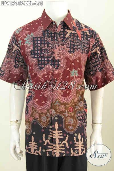 Batik Hem Big Size, Busana Batik Full Furing Lengan Pendek Proses Tulis Yang Bikin Pria Gemuk Terlihat Tampan Dan Macho [LD9136TF-XXL]