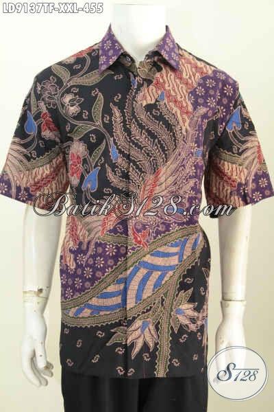 Hem Kerja Bahan Batik Untuk Pria Gemuk, Hadir Dengan Motif Mewah Tulis Asli Model Lengan Pendek Full Furing Hanya 455K, Size XXL