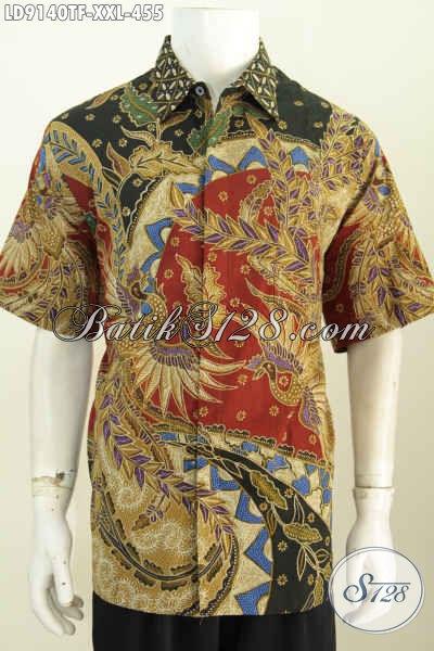 Toko Baju Batik Big Size Online, Sedia Hem Batik Tulis Lengan Pendek 3L Daleman Full Furing Harga 455 Ribu [LD9140TF-XXL]
