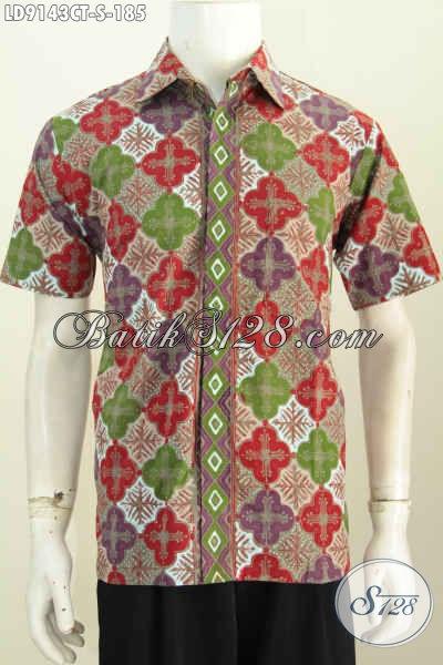 Hem Batik Modis Pria Muda Baju Batik Solo Elegan Lengan