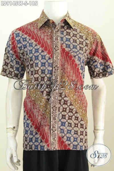 Agen Pakaian Batik Solo Modern, Jual Kemeja Lengan Pendek Online Motif Elegan Proses Cap Tulis Yang Bikin Penampilan Lebih Gagah Dan Tampan [LD9145CT-S]