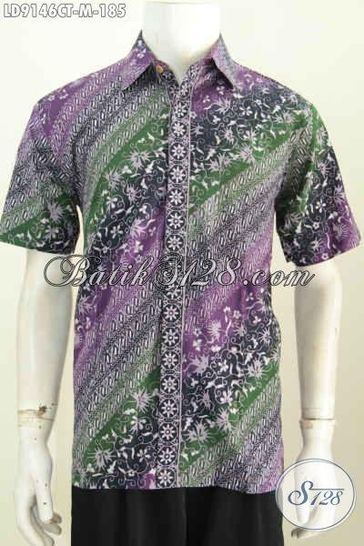 Batik Hem Solo Halus, Kemeja Lengan Pendek Size M Motif Elegan Proses Cap Tulis, Penampilan Lebih Sempurna [LD9146CT-M]