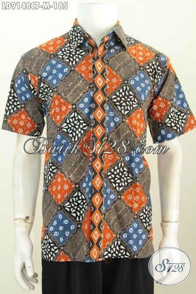 Baju Batik Pria Muda Motif Unik Proses Cap Tulis, Pakaian Batik Solo Halus Lengan Pendek Harga 185K, Tampil Mempesona [LD9148CT-M]