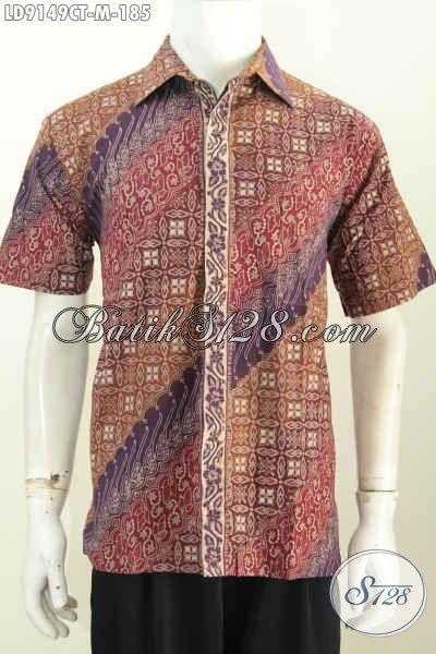 Baju Batik Khas Jawa Tengah, Hem Lengan Pendek Halus Motif Elegan Proses Cap Tulis, Bikin Penampilan Lebih Sempurna [LD9149CT-M]