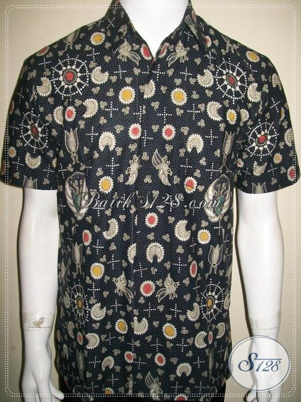 Kemeja Batik Pria Klasik Modern Warna Hitam Lengan Pendek Motif Lintang Trenggono [LD914BT-M]