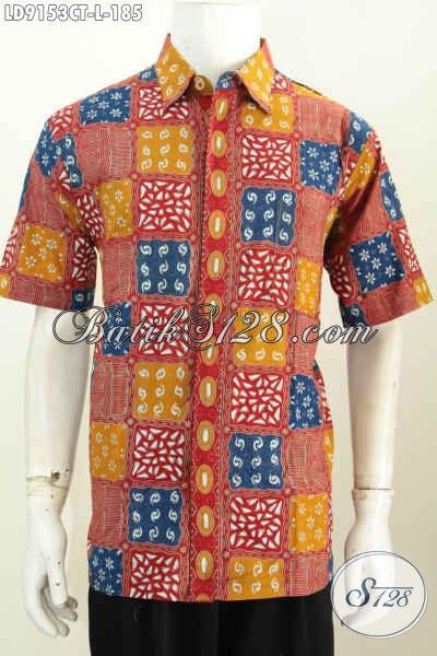 Batik Hem Solo Lengan Pendek, Kemeja Batik Fashion Halus Proses Cap Tulis, Pria Akan Terlihat Keren Banget [LD9153CT-L]