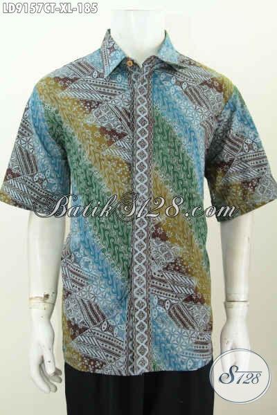 Baju Batik Kerja Pria Dewasa, Pakaian Batik Solo Halus Lengan Pendek Motif Klasik Cap Tulis Harga 185K