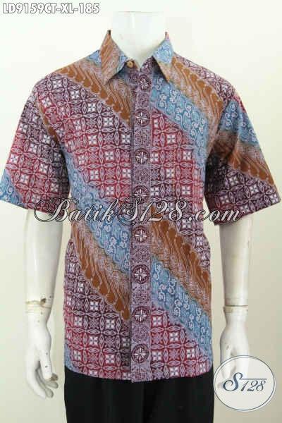 Baju Batik Gaul Pria Dewasa, Hem Batik Trendy Modis Lengan Pendek Motif Terkini Cap Tulis, Asli Buatan Solo 100 Ribuan Saja [LD9159CT-XL]