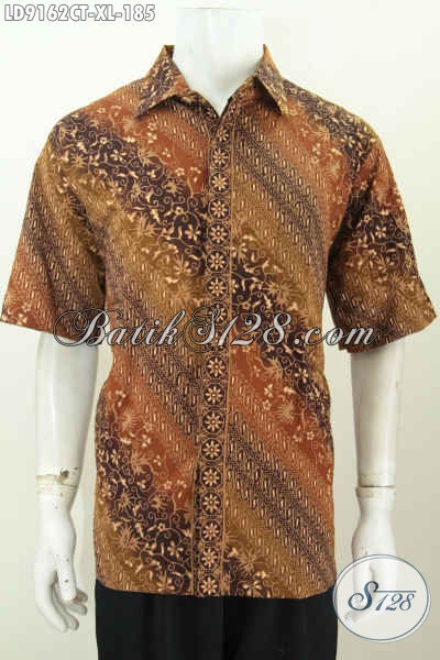 Batik Hem Elegan Pria Dewasa, Baju Batik Kerja Modern Motif Elegan Cap Tulis Model Lengan Pendek 185K [LD9162CT-XL]