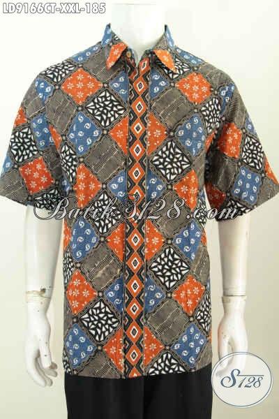 Tempat Belanja Baju Batik Pria Online, Sedia Kemeja Lengan Pendek Big Size Motif Bagus Proses Cap Tulis Hanya 185K [LD9166CT-XXL]