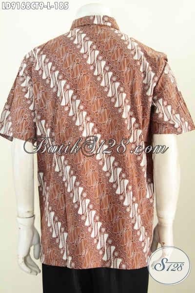 Batik Hem Pria Size L, Pakaian Batik Solo Lengan Pendek Berkelas Motif Modern Klasik Cap Tulis, Pria Terlihat Lebih Berkelas [LD9168CT-L]