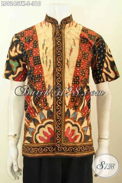 Hem Batik Kerja Elegan Desan Kerah Shanghai, Baju Batik Koko Klasik Proses Tulis Lengan Pendek Kwalitas Premium [LD9243TK-S]