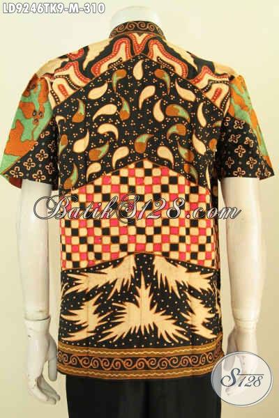 Model Baju Batik Pria Kerah Shanghai, Busana Batik Lengan Pendek Halus Motif Klasik Proses Tulis Yang Bikin Penampilan Pria Lebih Istimewa [LD9246TK-M]