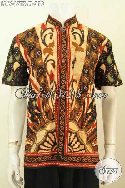 Hem Batik Koko Klasik Lengan Pendek, Baju Batik Kerah Shanghai Elegan, Bikin Pria Muda Tampil Mempesona, Size M