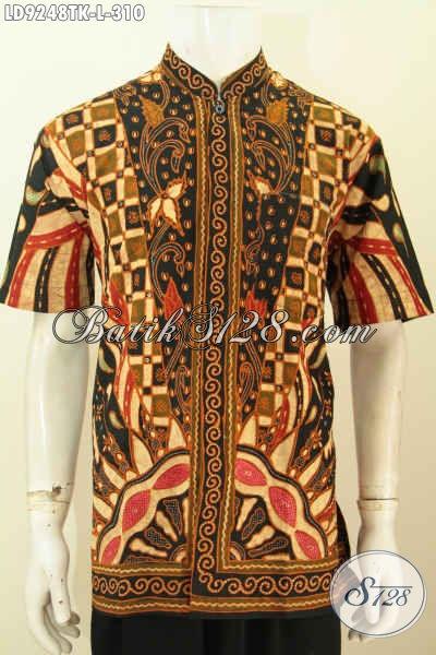 Jual Kemeja Batik Kerja Kerah Shanghai, Pakaian Batik Lengan Pendek Proses Tulis Istimewa Untuk Penampilan Lebih Gagah, Size L