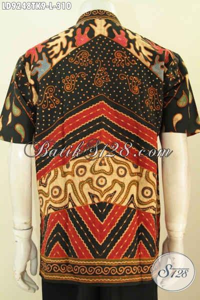 Batik Hem Kerja Motif Klasik Desain Kerah Shanghai, Baju Batik Koko Lelaki Kantoran Proses Tulis Hanya 310K [LD9248TK-L]
