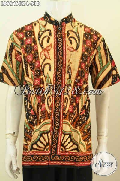 Koko batik pria moslim tangan pendek motif sinaran nampak depan