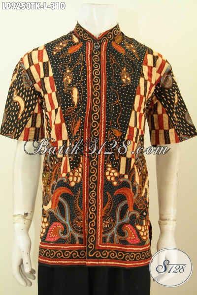 Model Baju Batik Kombinasi Pria Terbaru Hem Kerah Shanghai Lengan