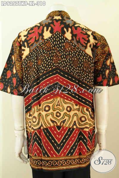 Jual Online Kemeja Batik Solo Jawa Tengah, Hem Batik Jawa Terkini Bahan Halsu Proses Tulis Model Kerah Shanghai Nan Istimewa, Size XL