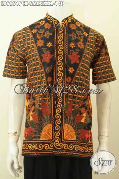 Hem Lengan Pendek Bahan Batik Model Koko Kerah Shanghai Motif Bagus Proses Printing Hanya 140K, Bisa Buat Kerja Dan Acara Resmi [LD9254PCK-S , XL]