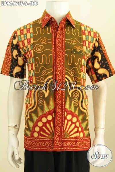 Kemeja Batik Elegan Pria Muda, Batik Halus Dan Mewah Lengan Pendek Motif Sinaran Proses Tulis Daleman Full Furing 400K [LD9267TF-S]