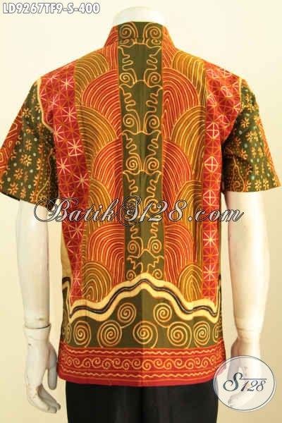 Kemeja Batik Lengan Pendek Size S, Motif Sinaran Proses Batik Tulis