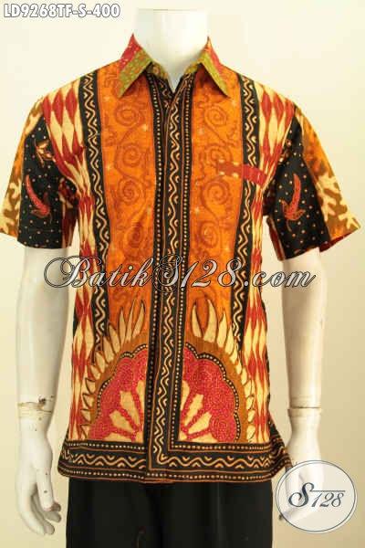 Hem Lengan Pendek Pria Muda, Baju Batik Remaja Pria Premium Full Furing Motif Sinaran Proses Tulis, Penampilan Lebih Berwibawa, Size S