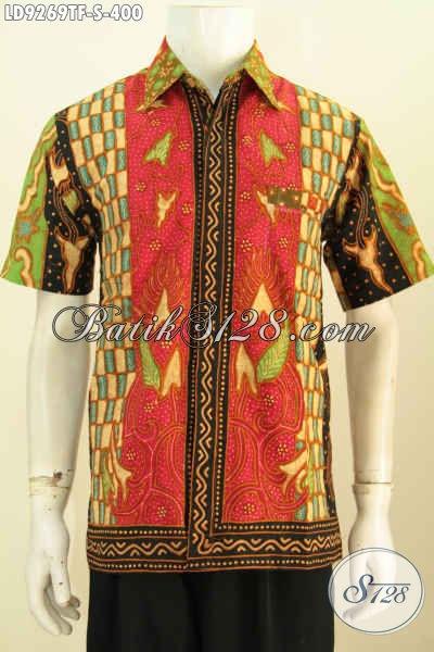 Batik Kemeja Lengan Pendek ELegan Motif Sinaran, Baju Batik Tulis Halus Mewah Full Furing, Pilihan Tepat Pria Untuk Tampil Modis Dan Berkelas, Size S