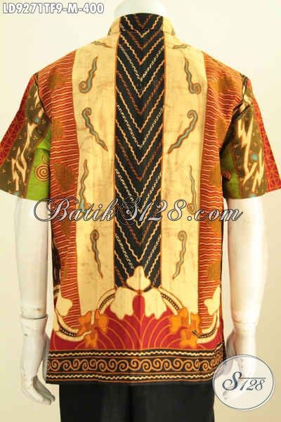 Hem Batik Halus Motif Klasik Sinaran, Baju Batik Tulis Lengan Pendek Mewah Full Furing Buatan Solo, Spesial Untuk Pria Muda Karir Sukses [LD9271TF-M]