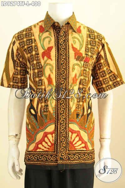 Baju Batik Pria Branded, Kemeja Batik Klasik Proses Tulis Lengan Pendek Full Furing Motif Sinaran, Penampilan Lebih Menawan [LD9274TF-L]