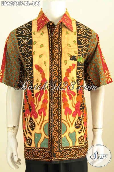 Jual Baju Batik Hem Istimewa 400K, Hem Batik Lengan Pendek Klasik Full Furing Motif Sinaran Proses Tulis, Desain Trend Mode 2020 [LD9280TF-XL]