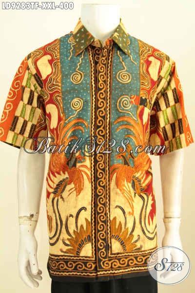 Hem Lengan Pendek Big Size, Baju Batik Elegan Full Furing Lelaki Gemuk Motif Sinaran Proses Tulis Harga 400K Daleman Di Lengkapi Furing [LD9283TF-XXL]