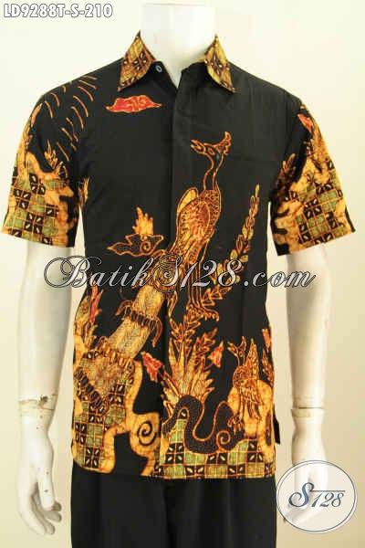 Busana Batik Modern Seragam Kerja Motif Unik, Baju Batik Tulis Lengan Pendek Istimewa Untuk Tampil Gaya Dan Mempesona [LD9288T-S]