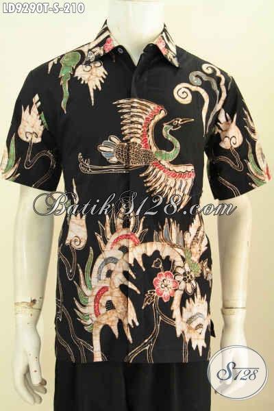 Pakaian Batik Modis Lengan Pendek Dasar Hitam Elegan, Baju Batik Tulis Solo Istimewa Bikin Penampilan Sempurna [LD9290T-S]