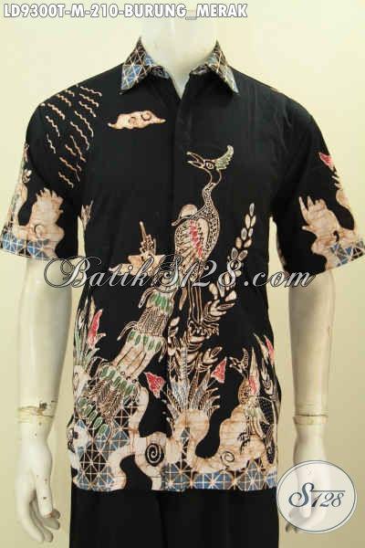 Jual Online Baju Batik Tulis Pria Motif Burung Merak, Bahan Katun Size M