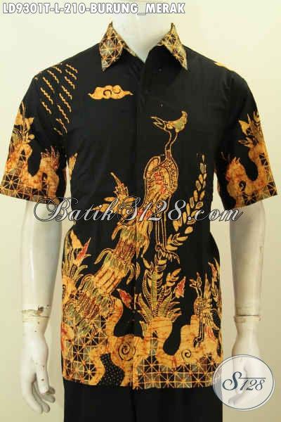 Toko Baju Batik Online, Sedia Hem Pria Muda Desain Modis Motif Burung Merah Lengan Pendek Proses Tulis Hanya 210 Ribu [LD9301T-M]