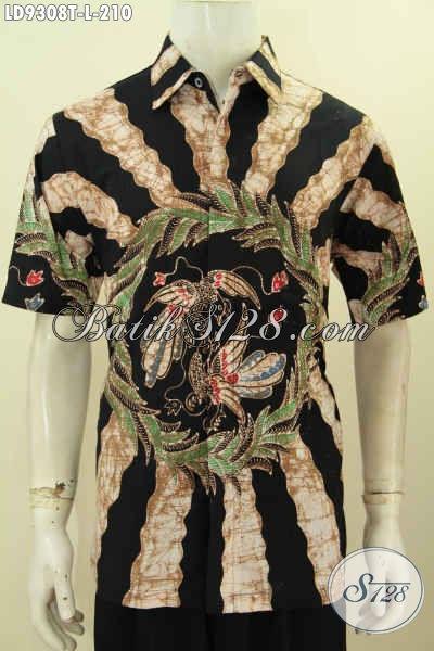 Baju Batik Pria Dasar Hitam, Pakaian Batik ELegan Motif Bagus Proses Tulis Model Lengan Pendek Desain Berkelas, Tampil Tampan Maksimal [LD9308T-L]