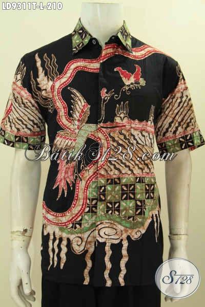 Baju Batik Pria Modern, Hem Lengan Pendek Keren Warna Hitam Elegan Motif Unik Proses Tulis Daleman Non Furing Harga 210K [LD9311T-L]