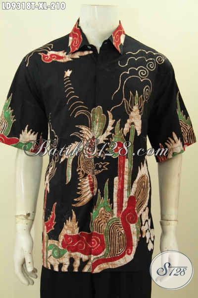 Batik Hem Elegan Khas Jawa Tengah, Pakaian Batik Kemeja Lengan Pendek Kwalitas Premium Hanya 210 Ribu [LD9318T-XL]