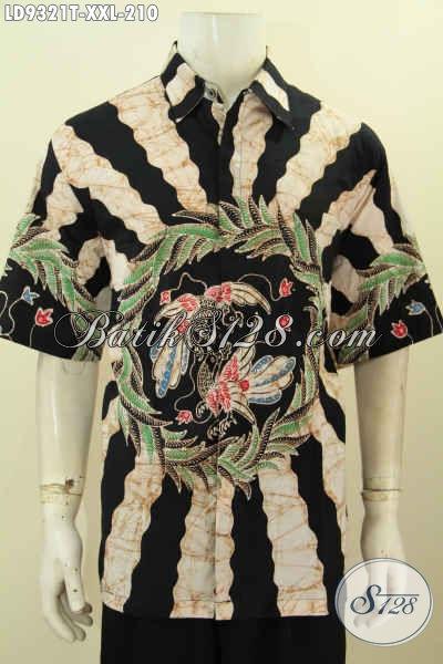 Baju Kemeja Lengan Pendek Proses Tulis Motif Bagus Big Size, Pakaian Batik Lelaki Gemuk Buatan Solo Hanya 210K [LD9321T-XXL]