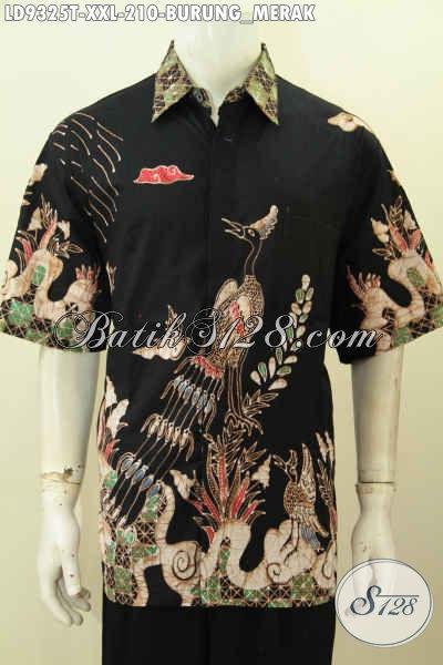 Batik Hem Solo Terkini Motif Burung Merak, Baju Batik Tulis Elegan Dasar Hitam Model Lengan Pendek, Hadir Spesial Buat Lelaki Gemuk Agar Tampil Mempesona [LD9325T-XXL]