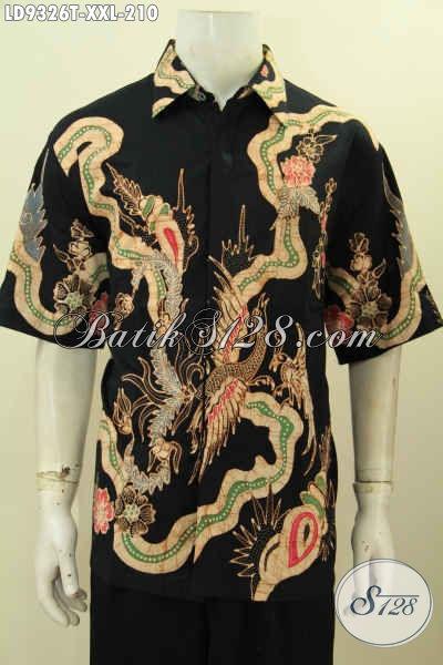 Baju Hem Batik Keren, Kemeja Batik Solo Halus 3L, Hem Batik Pria Gemuk XXL Model Terkini Motif Keren Proses Tulis Hanya 210K [LD9326T-XXL]