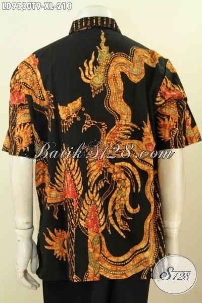 Hem Lengan Pendek Size XL, Baju Batik Halus Motif Keren Proses Tulis, Busana Batik Solo Istimewa Harga Biasa [LD9330T-XL]