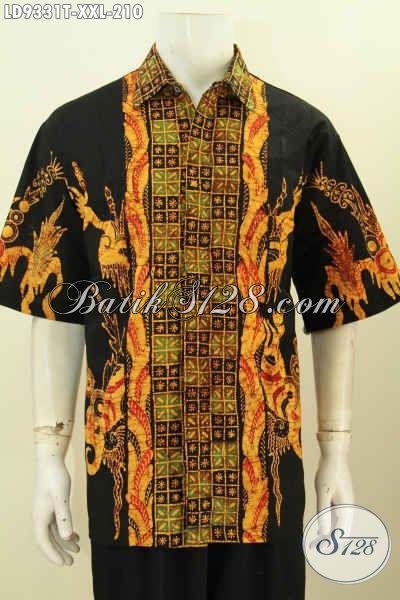 Hem Batik Jumbo, Kemeja Batik Lengan Pendek 3L Halus Motif Kombinasi Proses Tulis, Pria Gemuk Terlihat Lebih Langsing Dan Gagah [LD9331T-XL]