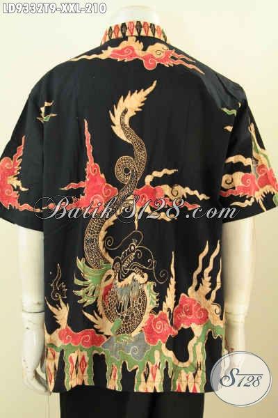 Agen Baju Batik Solo Online, Sedia Kemeja Lengan Pendek Big Size Halus Motif Kombinasi Proses Tulis Dengan Dasar Hitam Nan Elegan, Pria Gemuk Makin Tampan [LD9332T-XXL]
