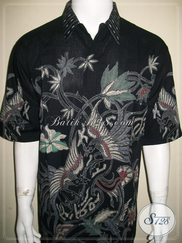 Kemeja Batik Pria Motif Burung Warna Hitam Keren dan Berwibawa [LD935T-XXL]